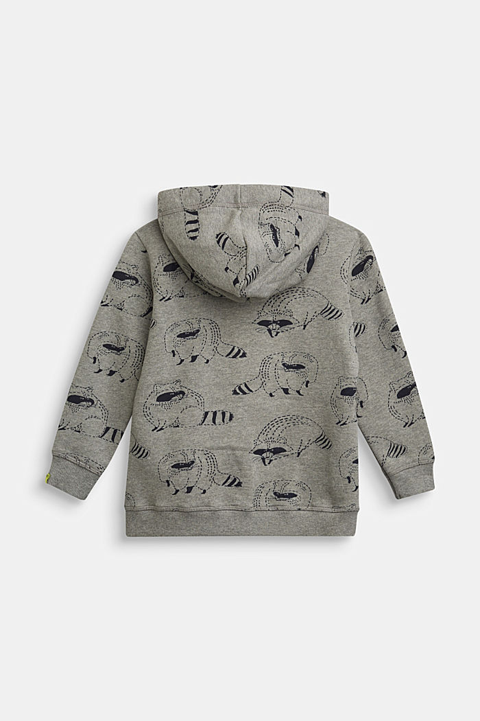 Sweatshirt jacket with a raccoon print, 100% cotton, DARK GREY, detail image number 1