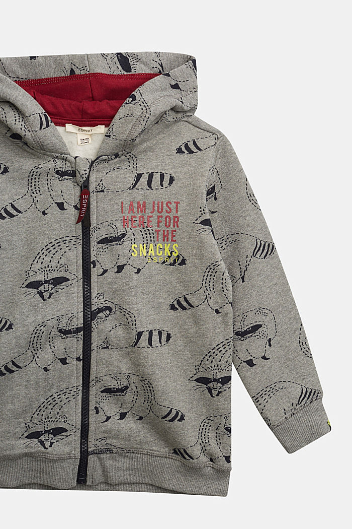 Sweatshirt jacket with a raccoon print, 100% cotton, DARK GREY, detail image number 2
