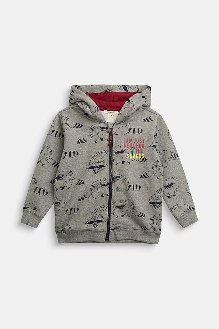 Sweatshirt jacket with a raccoon print, 100% cotton, DARK GREY, detail image number 0