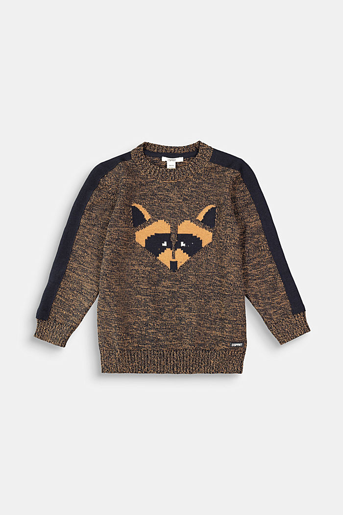 Melange jumper with raccoon intarsia