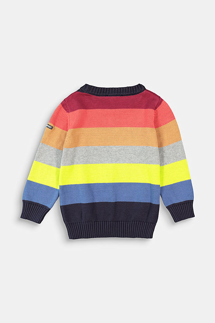 Colourful striped jumper, 100% cotton, NAVY, detail image number 1