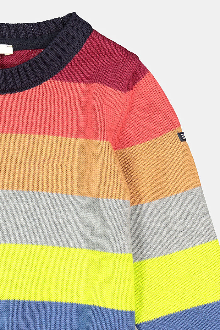 Colourful striped jumper, 100% cotton, NAVY, detail image number 2