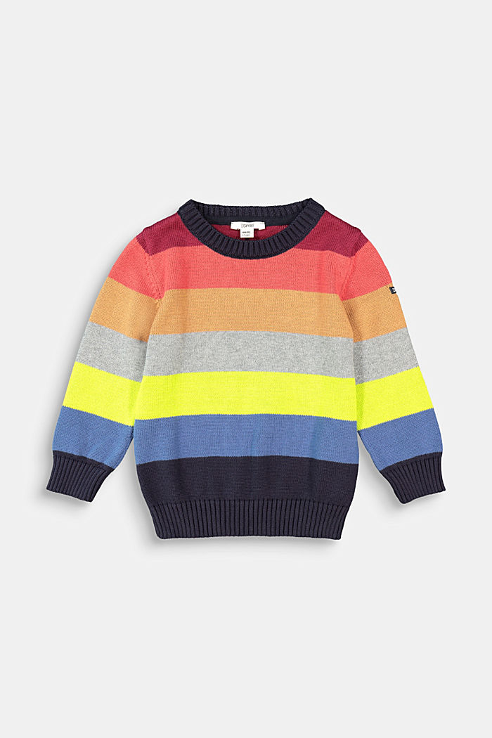 Colourful striped jumper, 100% cotton, NAVY, detail image number 0