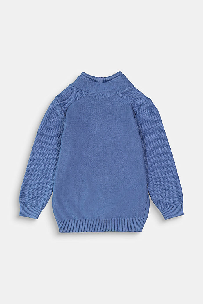 Stand-up collar jumper, 100% cotton, BLUE, detail image number 1