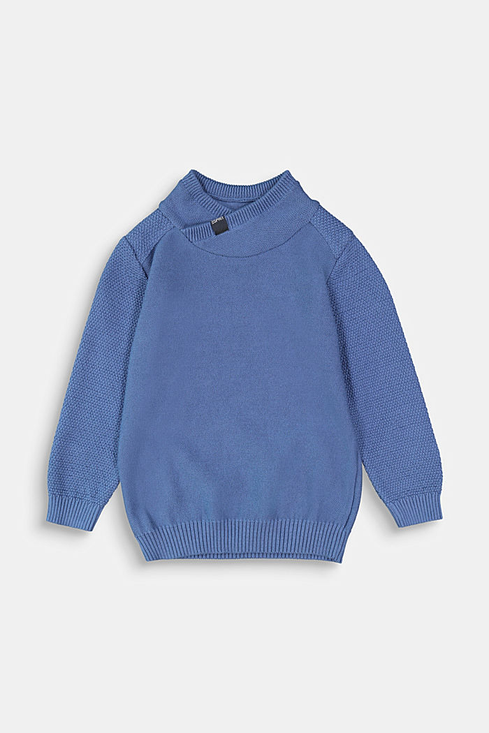 Stand-up collar jumper, 100% cotton, BLUE, detail image number 0