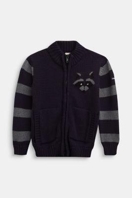 Knit cardigan in 100% cotton, NAVY, detail