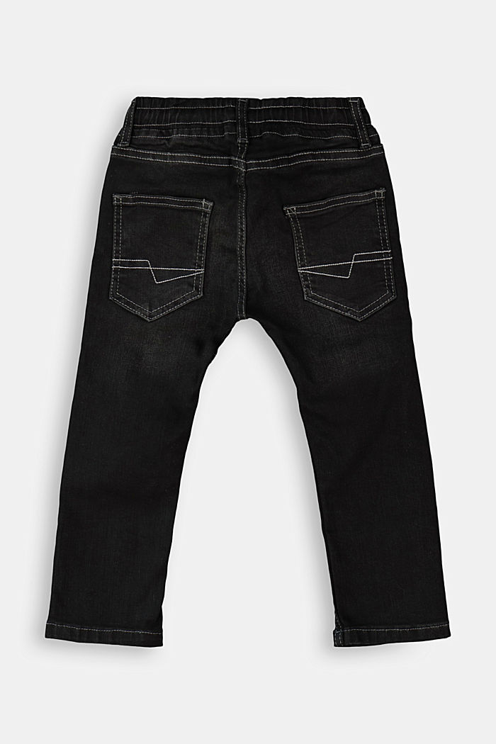 Pull-on jeans in a worker look, BLACK DARK WASHED, detail image number 1