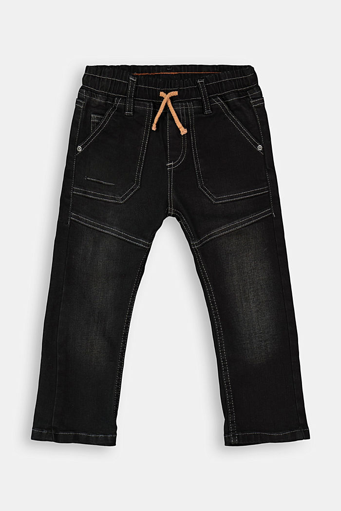 Pull-on jeans in a worker look, BLACK DARK WASHED, detail image number 0