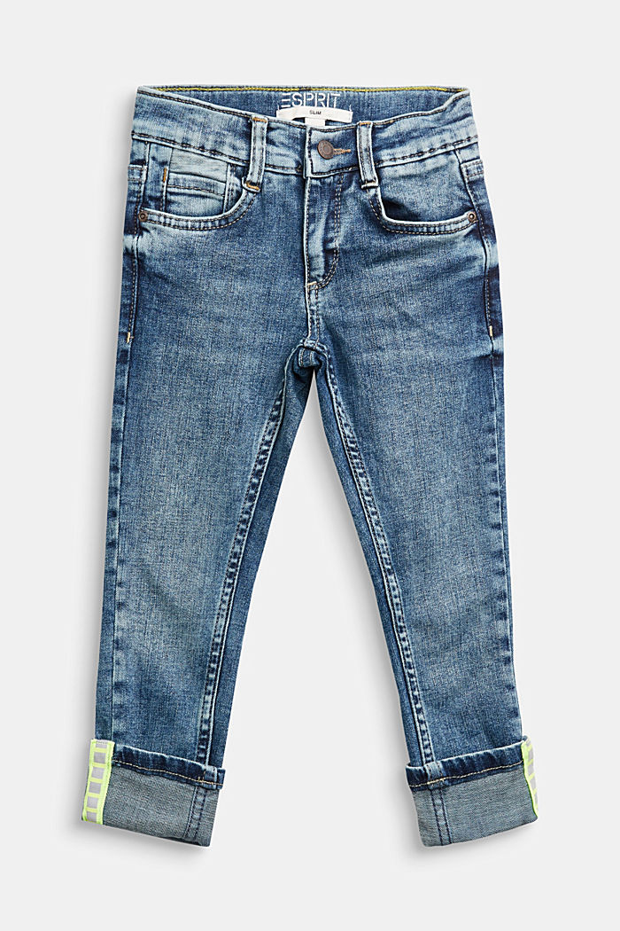 Jeans with reflector details and an adjustable waistband, BLUE MEDIUM WASHED, detail image number 0