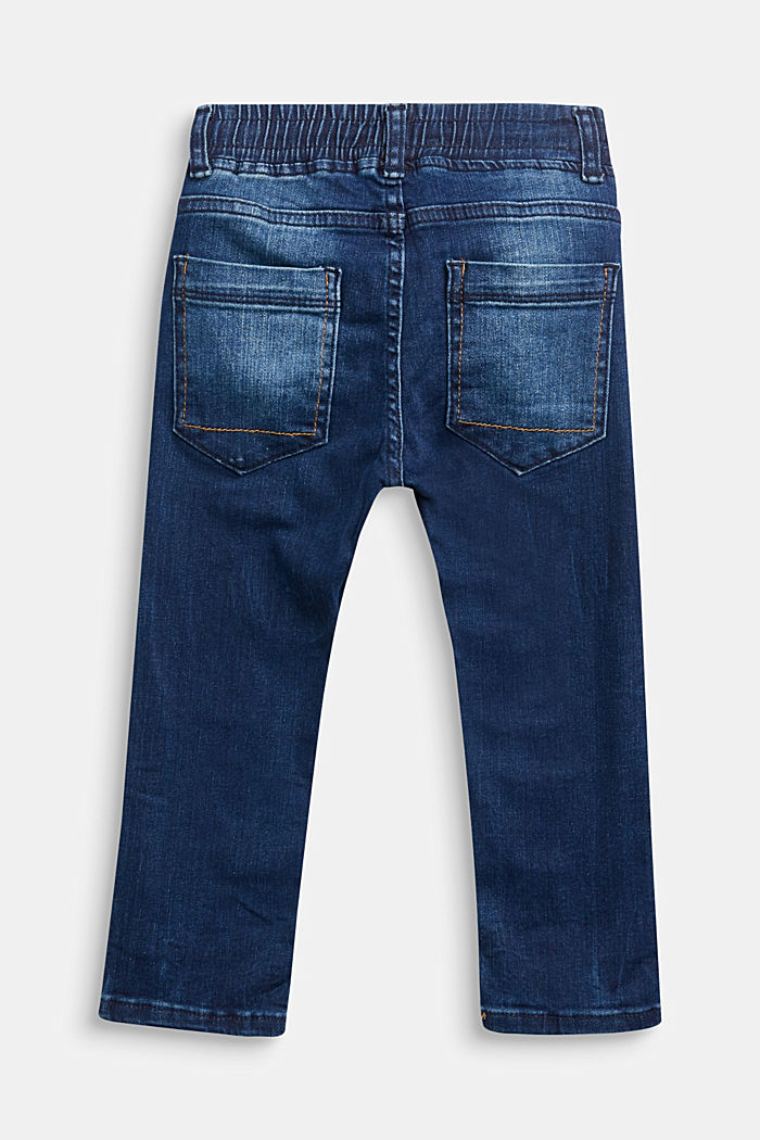 Jeans with a stretchy drawstring waistband, BLUE DARK WASHED, detail image number 1