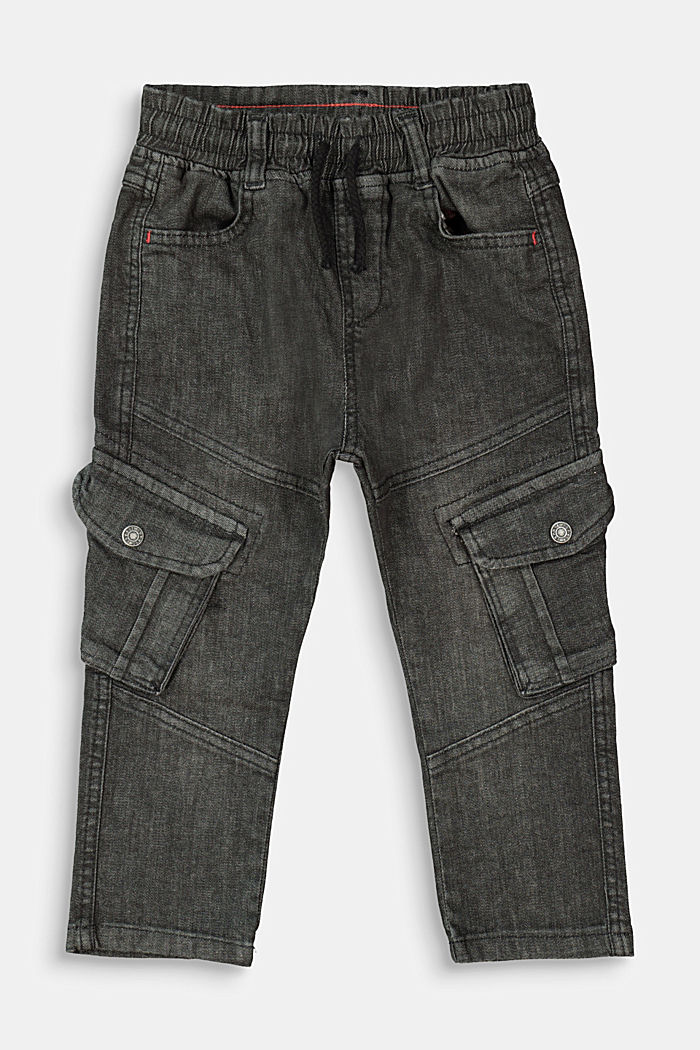 Slip-on jeans in a cargo style, BLACK MEDIUM WASHED, detail image number 0
