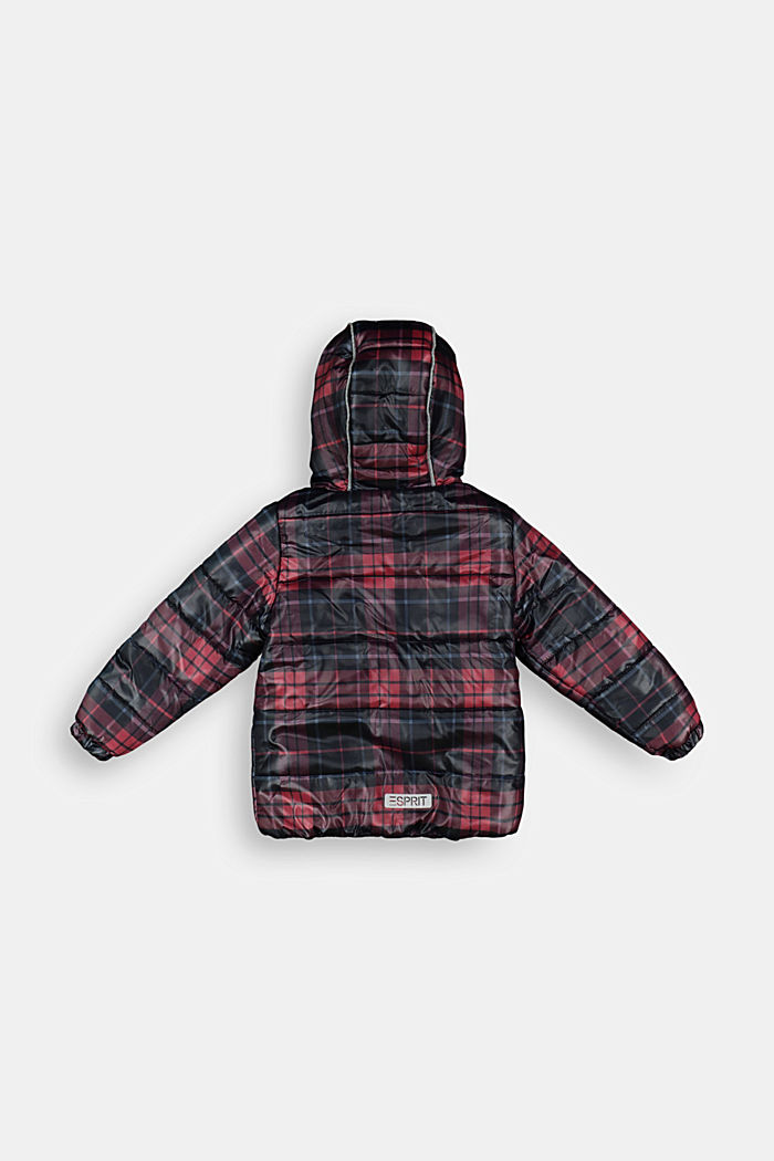 Checked quilted jacket with fleece lining