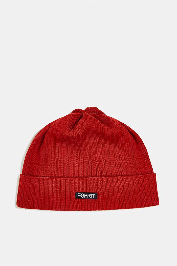 Rib knit hat, GARNET RED, detail image number 0