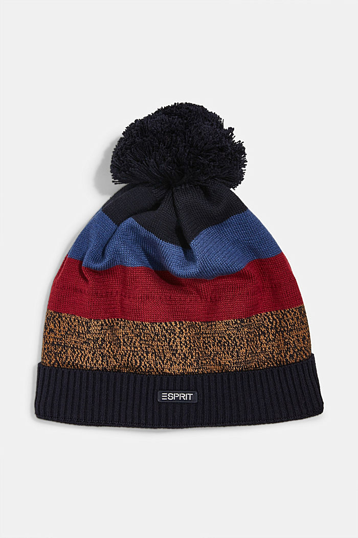 Striped beanie with a pompom