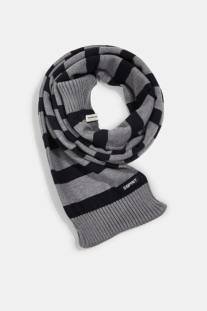Striped knitted scarf, DARK GREY, detail image number 0