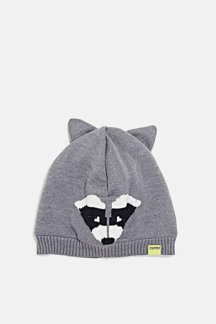 Hat with animal motif and fleece lining, DARK GREY, overview