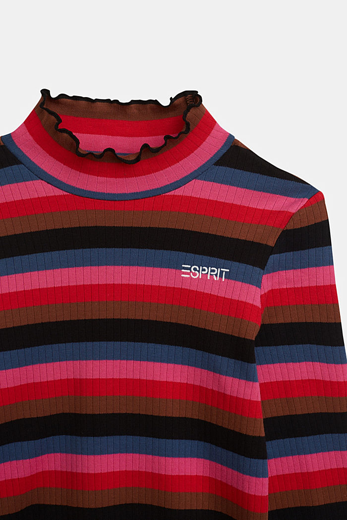Ribbed long sleeve top with stripes, 100% cotton, BLACK, detail image number 2