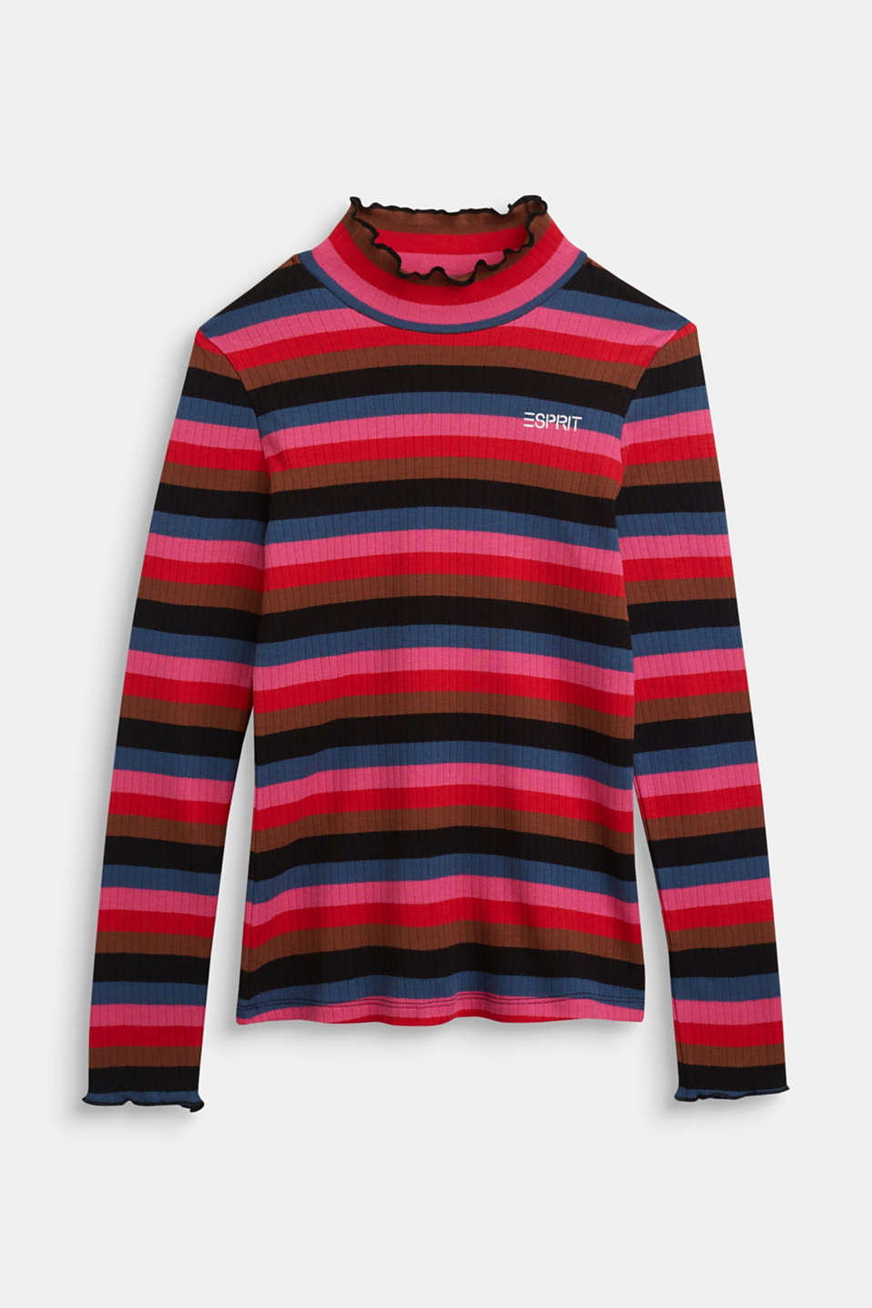 Esprit - Ribbed long sleeve top with stripes, 100% cotton