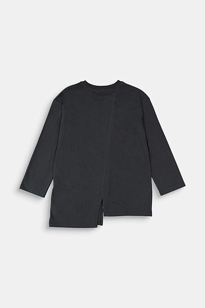 Long sleeve top made of 100% cotton, BLACK, detail image number 1