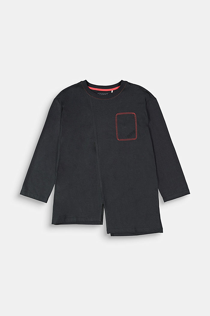 Long sleeve top made of 100% cotton, BLACK, overview