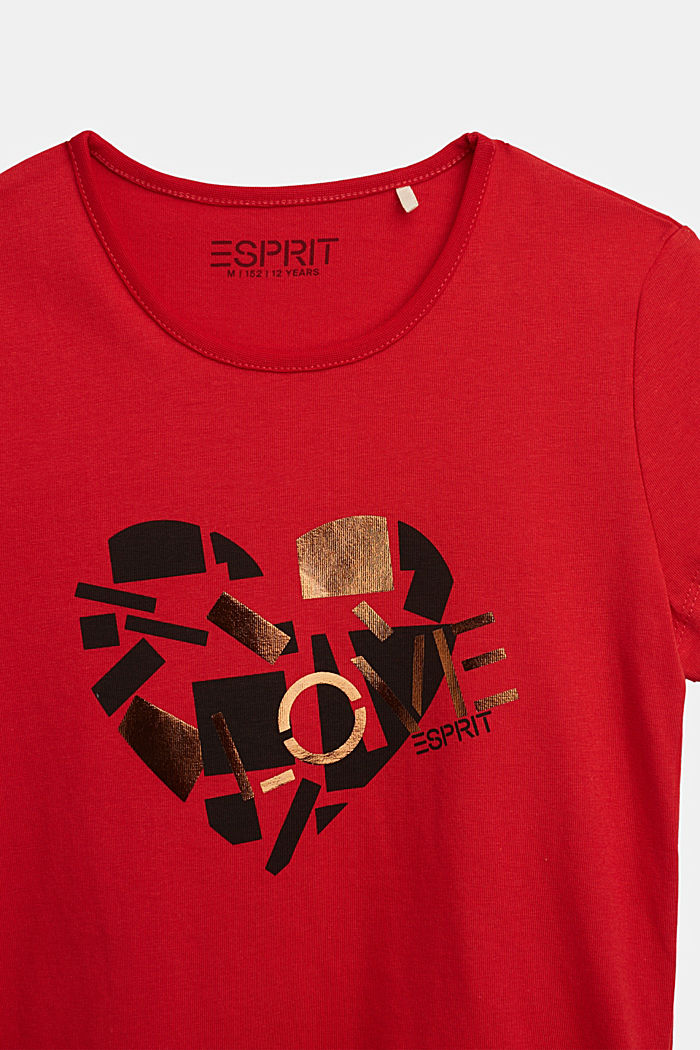 T-shirt with a shiny print, RED, detail image number 2