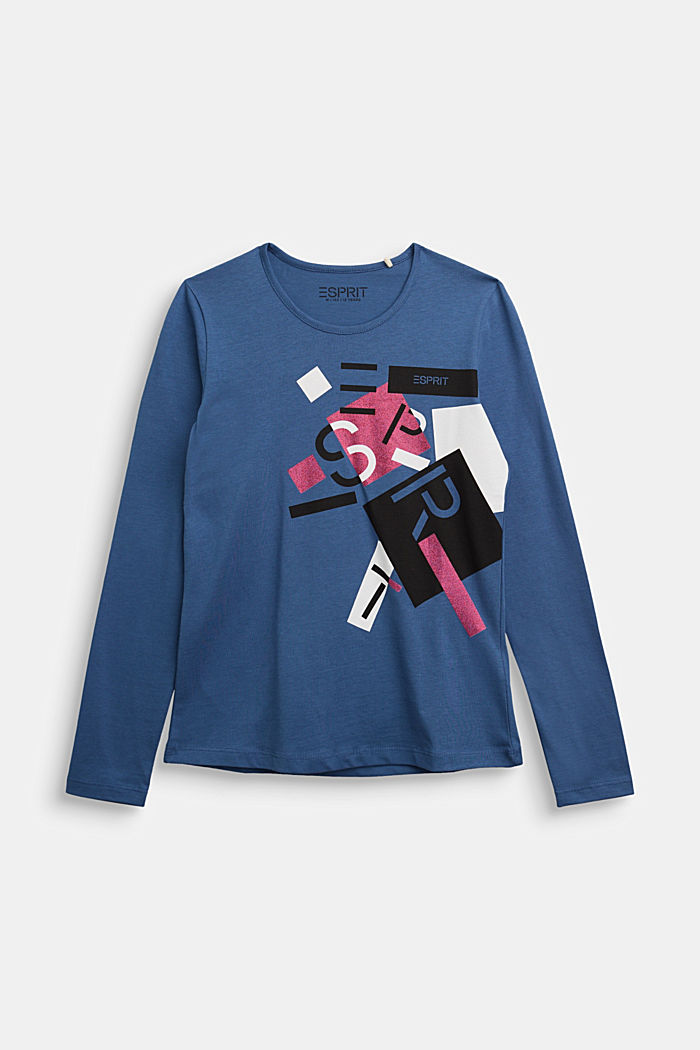 Long sleeve top made of 100% cotton, BLUE, detail image number 0
