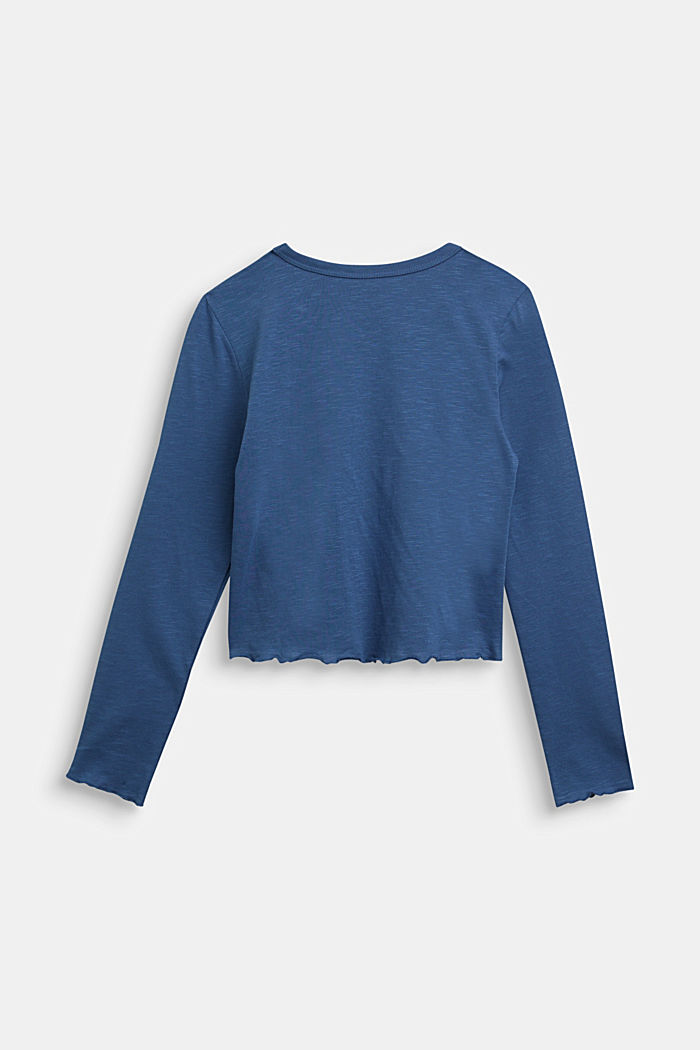 Slub jersey long sleeve top, 100% cotton, BLUE, detail image number 1