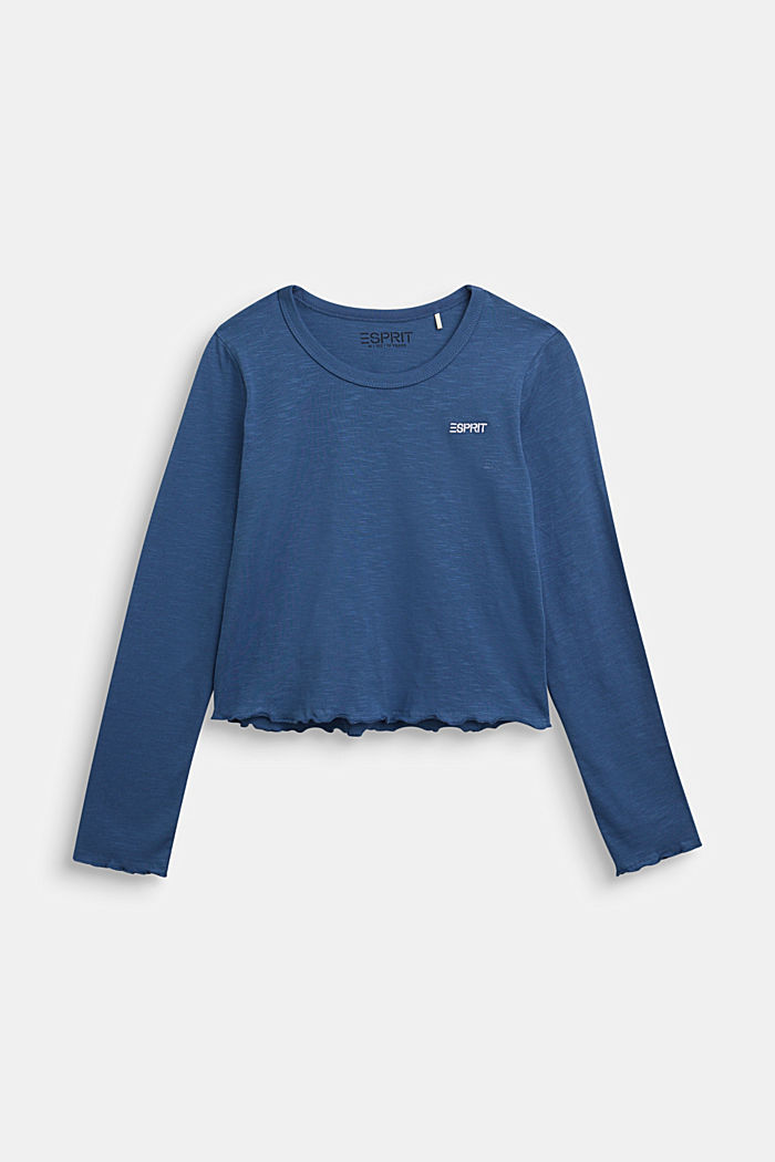 Slub jersey long sleeve top, 100% cotton, BLUE, overview