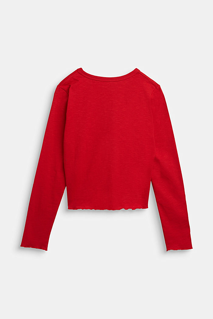 Slub jersey long sleeve top, 100% cotton, RED, detail image number 1