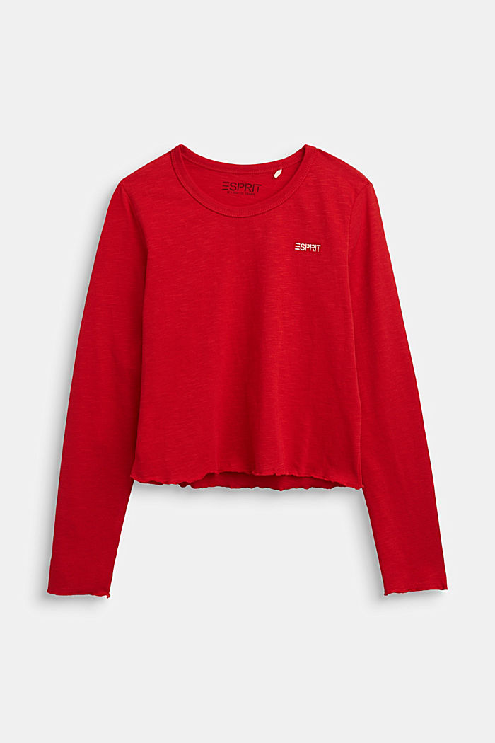 Slub jersey long sleeve top, 100% cotton, RED, detail image number 0