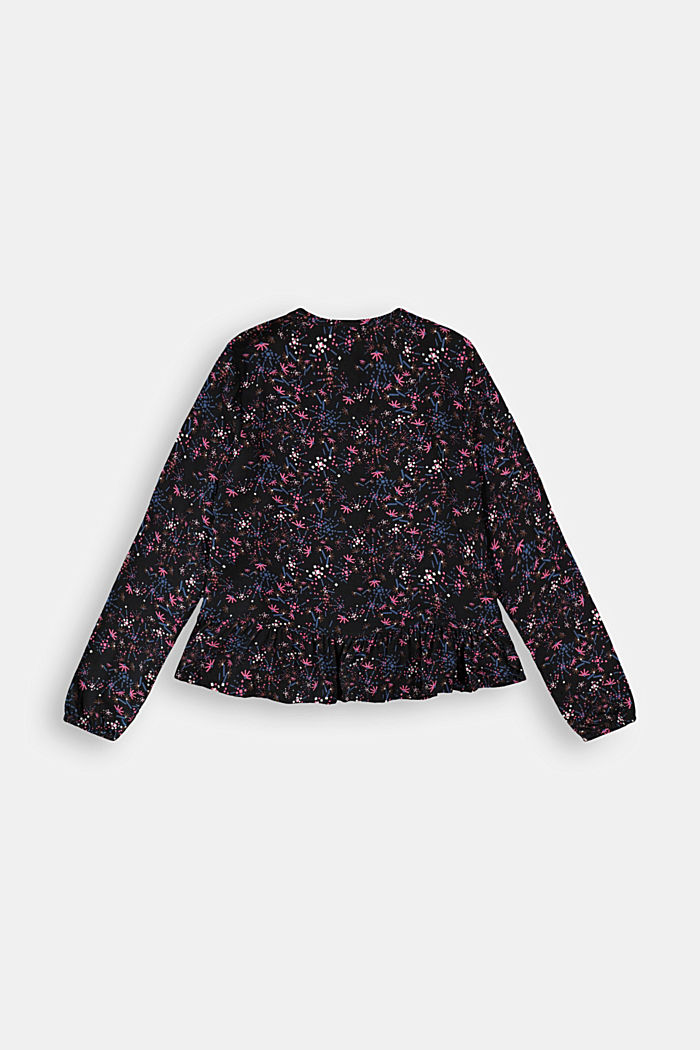 Blouse with print and flounce hem, BLACK, detail image number 1
