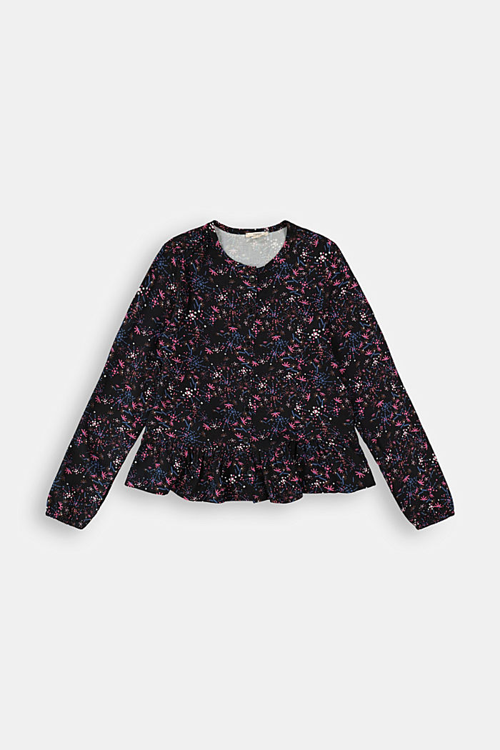 Blouse with print and flounce hem, BLACK, detail image number 0