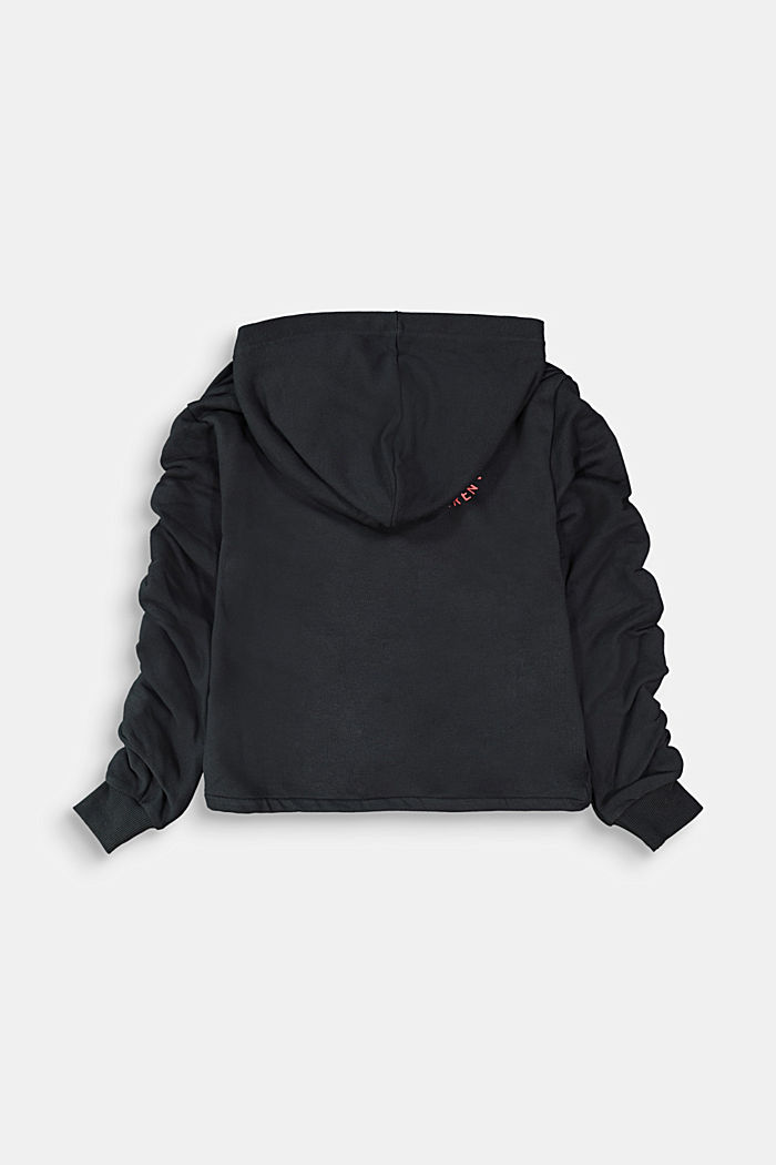 Cropped hoodie with statement sleeves, BLACK, detail image number 1