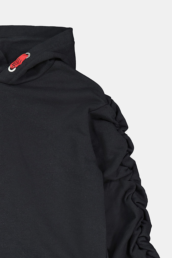 Cropped hoodie with statement sleeves, BLACK, detail image number 2