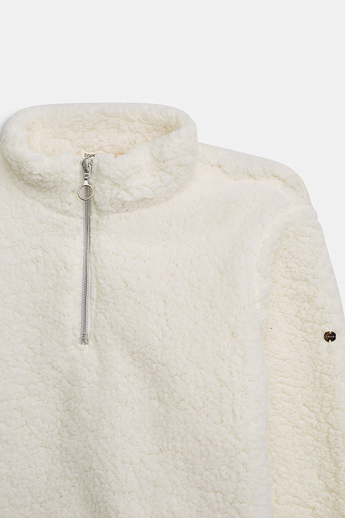 Teddy plush zip-neck jumper, SKIN BEIGE, detail image number 2