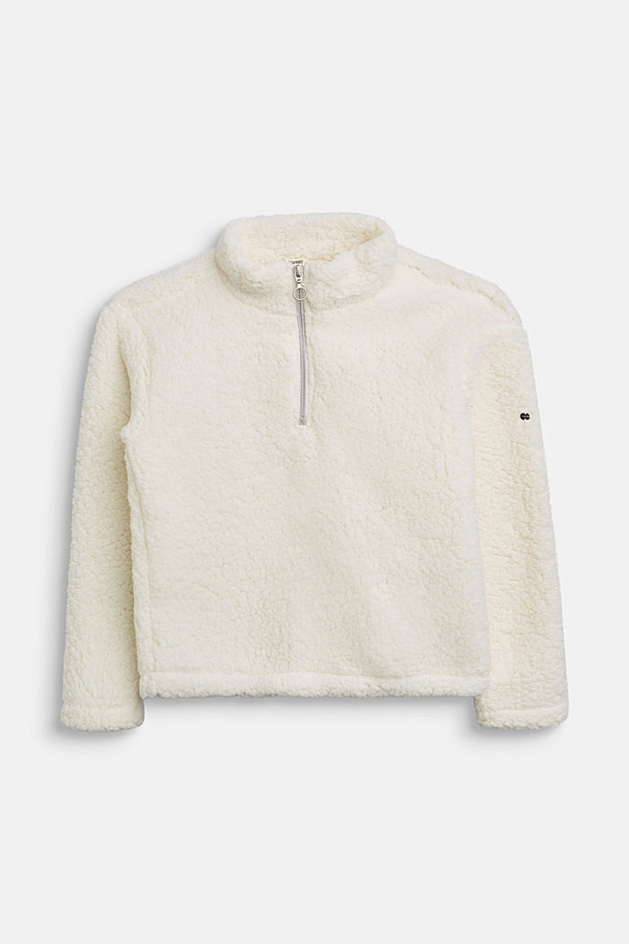 Teddy plush zip-neck jumper, SKIN BEIGE, detail image number 0