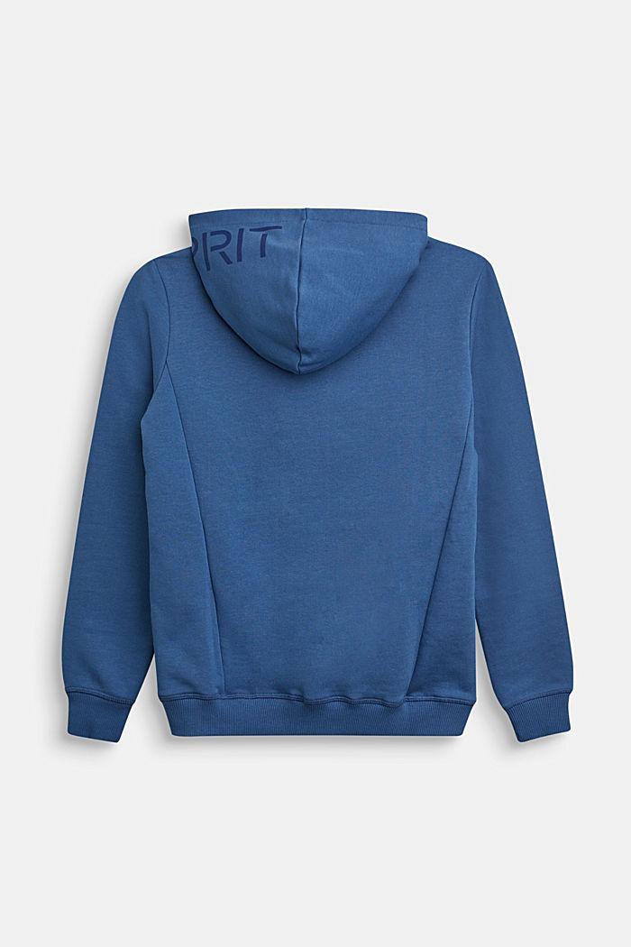 Kapuzen-Cardigan aus 100% Baumwolle, BLUE, detail image number 1
