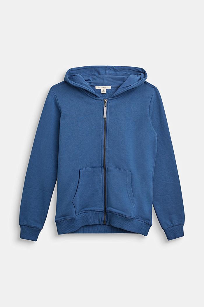 Kapuzen-Cardigan aus 100% Baumwolle, BLUE, detail image number 0