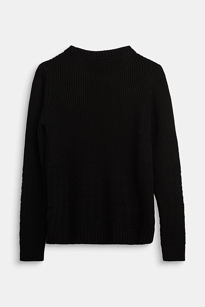 Jumper with a mixed texture, BLACK, detail image number 1