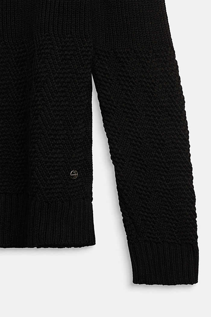 Jumper with a mixed texture, BLACK, detail image number 2