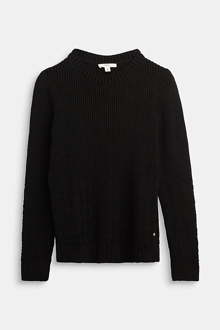 Jumper with a mixed texture, BLACK, detail image number 0