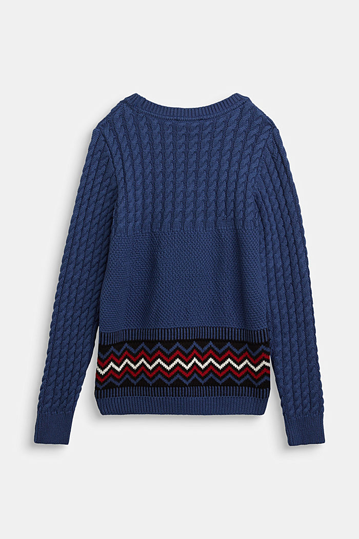Cable knit jumper with a pattern detail, BLUE, detail image number 1