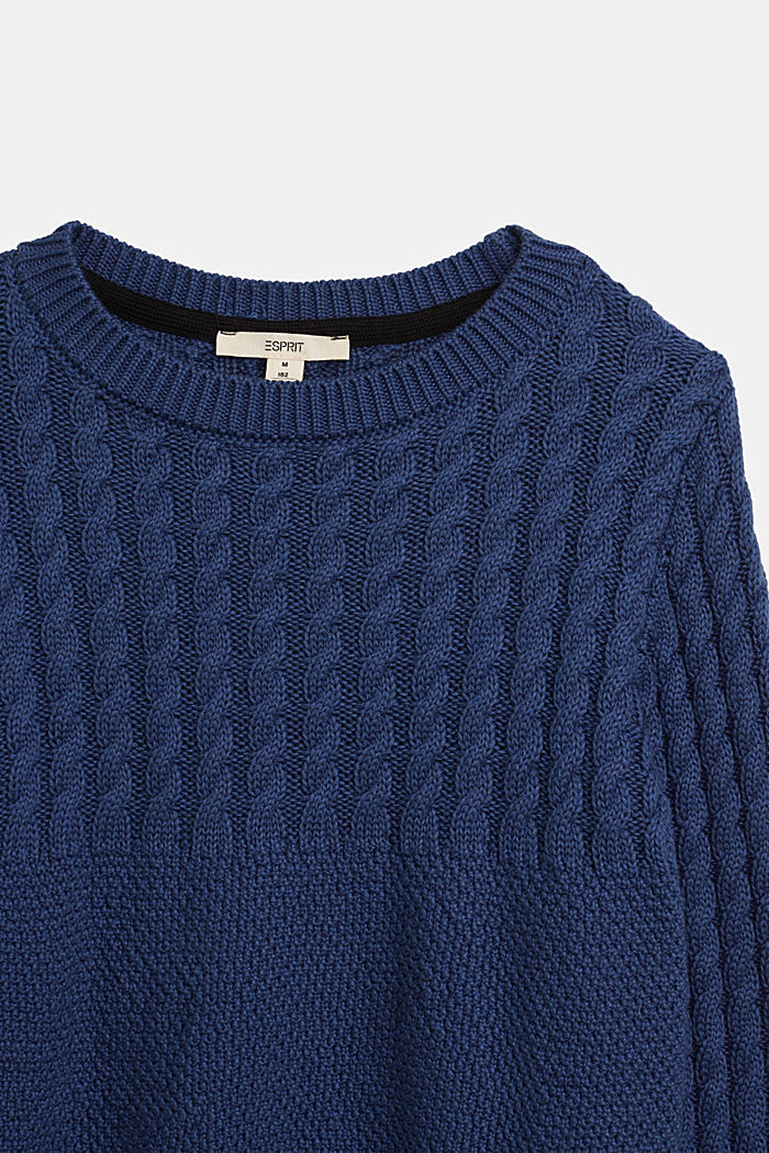 Cable knit jumper with a pattern detail, BLUE, detail image number 2
