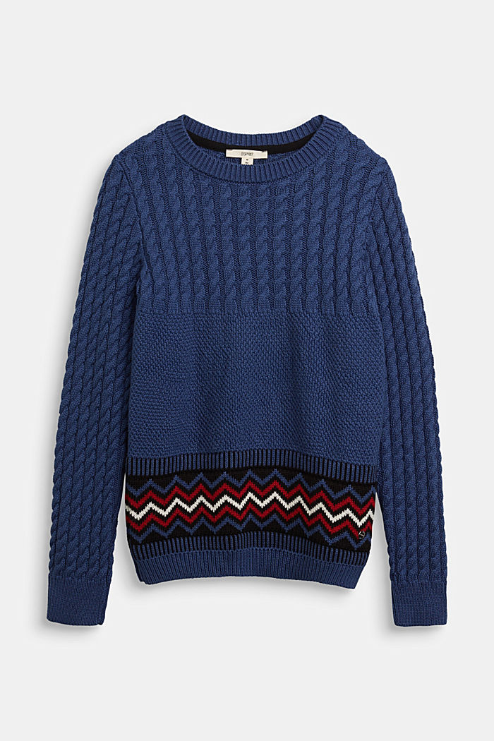 Cable knit jumper with a pattern detail, BLUE, detail image number 0
