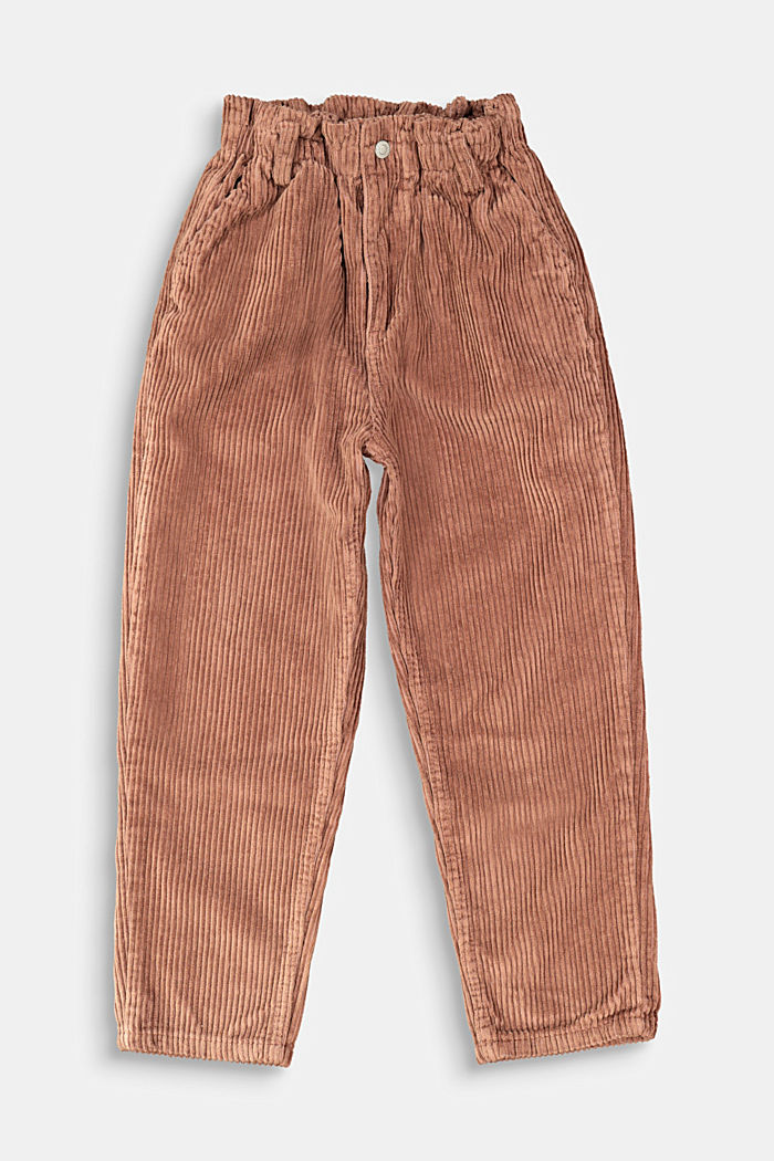 Corduroy trousers made of 100% cotton, DARK BROWN, detail image number 0