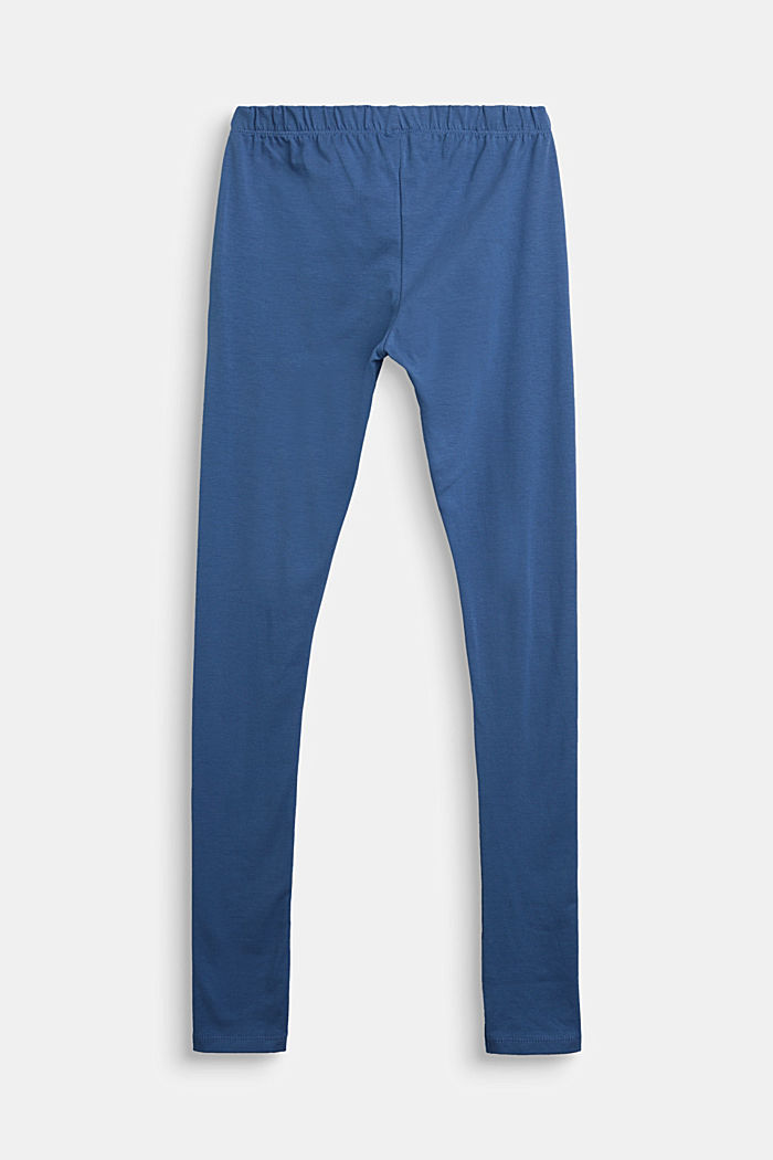 Stretch cotton leggings, BLUE, detail image number 1