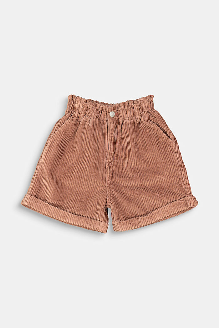 Cord shorts made of 100% cotton, DARK BROWN, detail image number 0