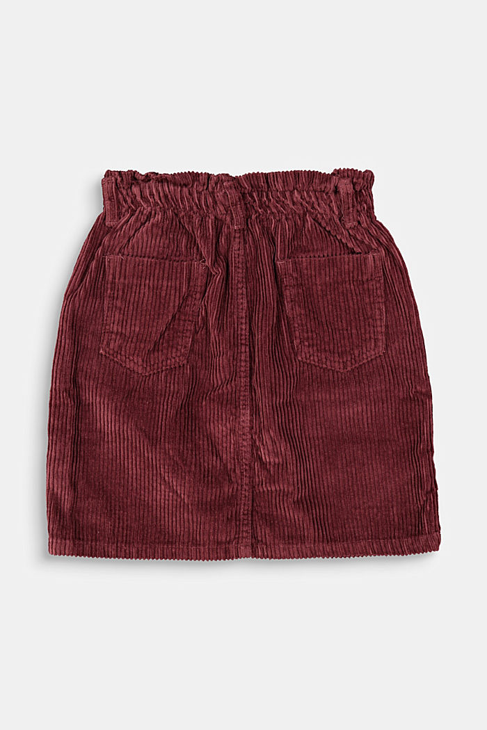 Corduroy skirt with an elasticated paperbag waistband, BORDEAUX RED, detail image number 1