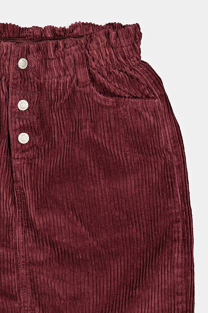 Corduroy skirt with an elasticated paperbag waistband, BORDEAUX RED, detail image number 2
