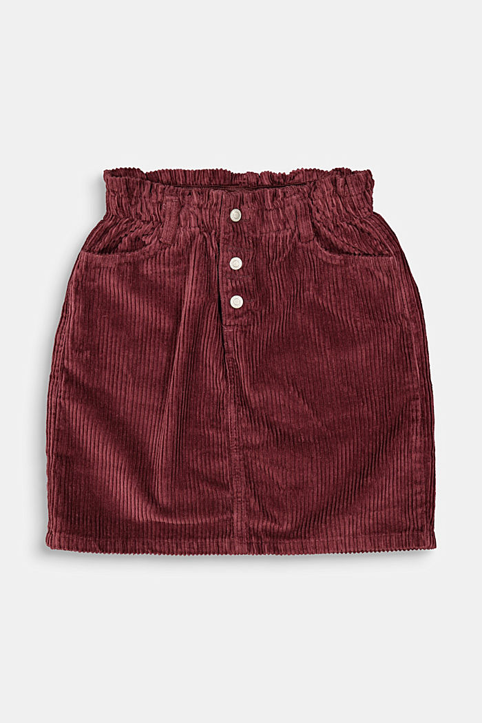 Corduroy skirt with an elasticated paperbag waistband, BORDEAUX RED, detail image number 0